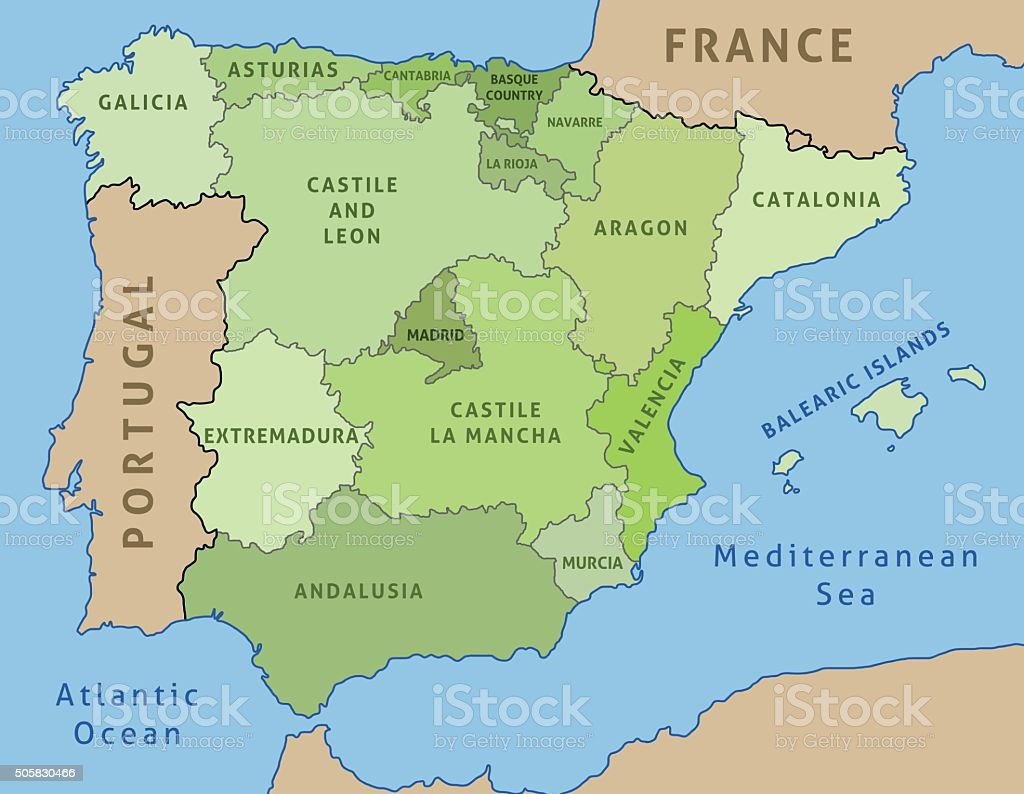 Map Of Spain Stock Vector Art More Images of Andalusia 505830466