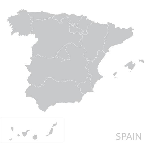 karte von spanien - spanien stock-grafiken, -clipart, -cartoons und -symbole