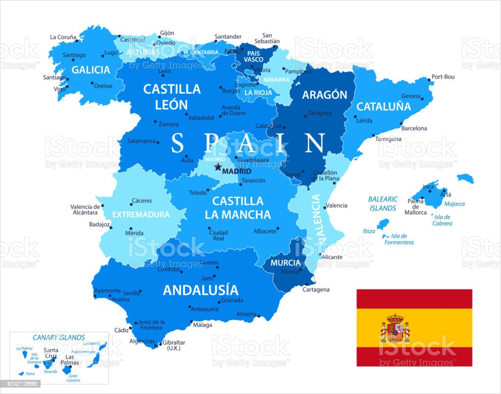 Map Of Spain And Its Islands.Map Of Spain Vector Stock Vector Art More Images Of Atlantic