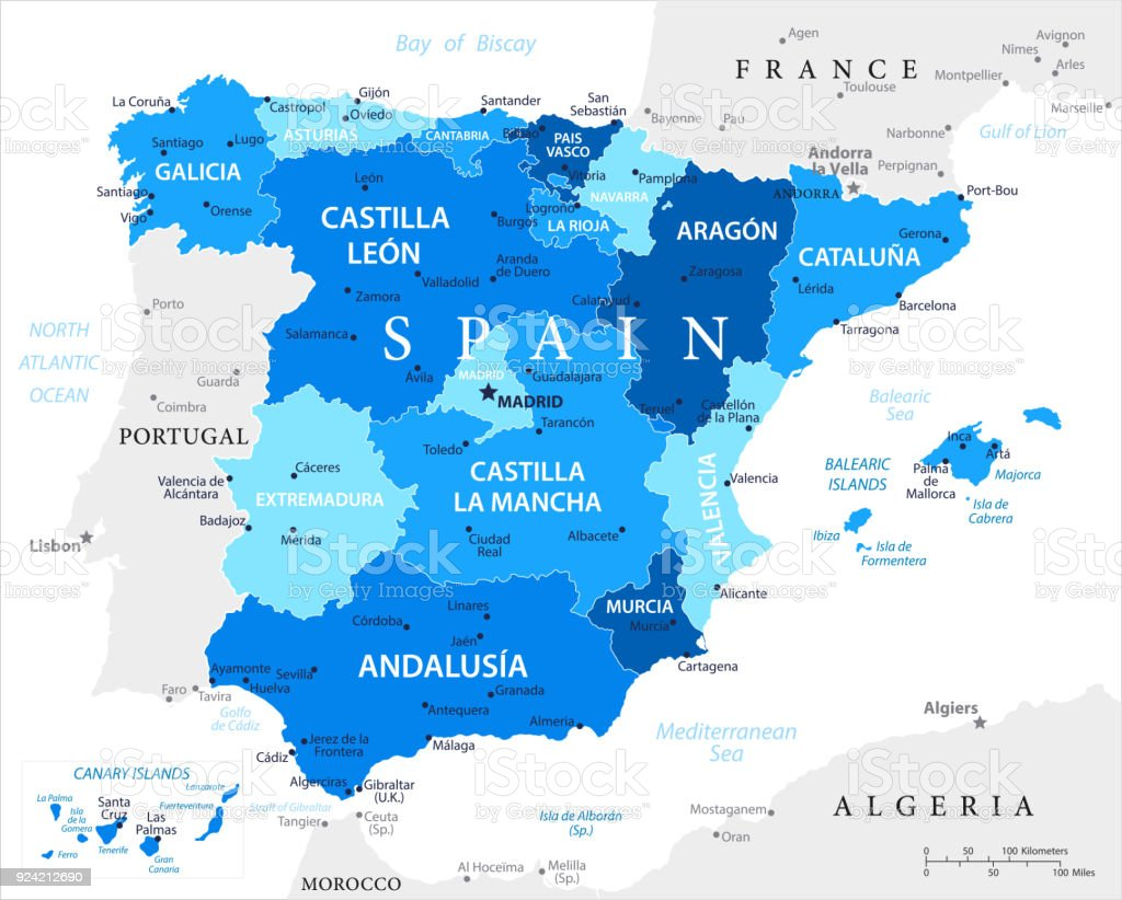 Spain And Africa Map.Map Of Spain Vector Stock Vector Art More Images Of Africa