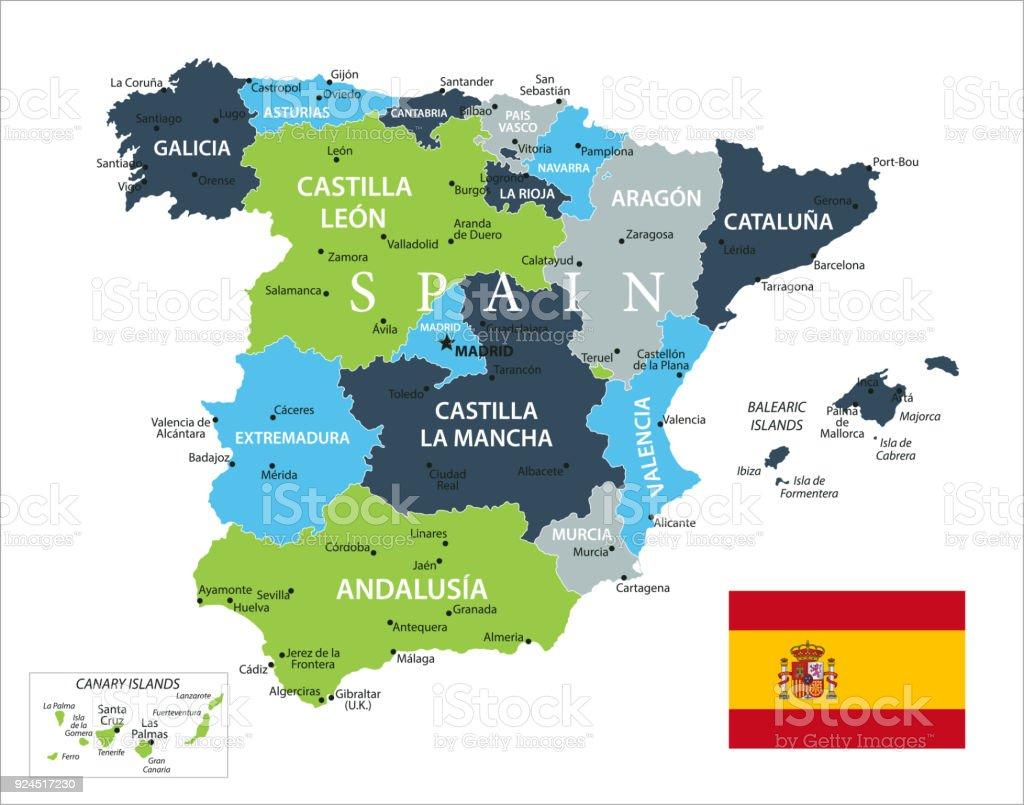 Map Of Spain Lanzarote.Map Of Spain Vector Stock Vector Art More Images Of Atlantic