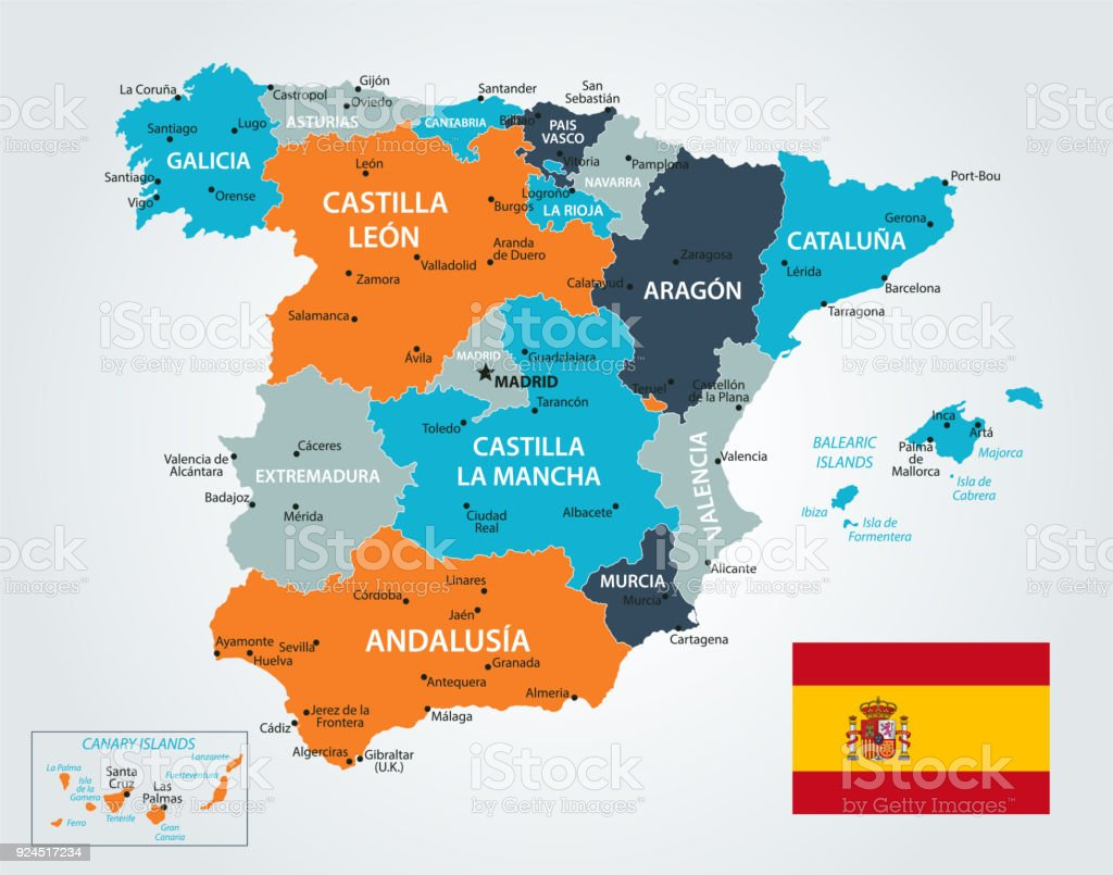 Map Of Spain Vector Stock Vector Art & More Images of Black Color ...