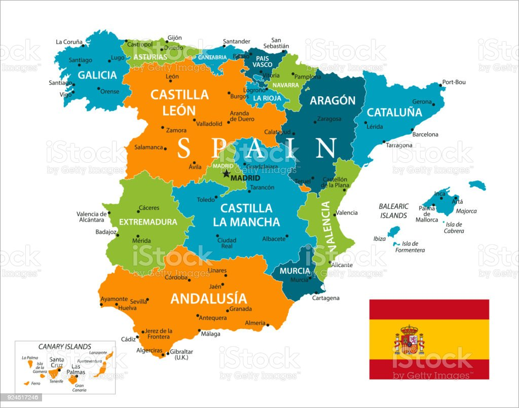 Map Of Spain Vector Stock Vector Art & More Images of Atlantic ...