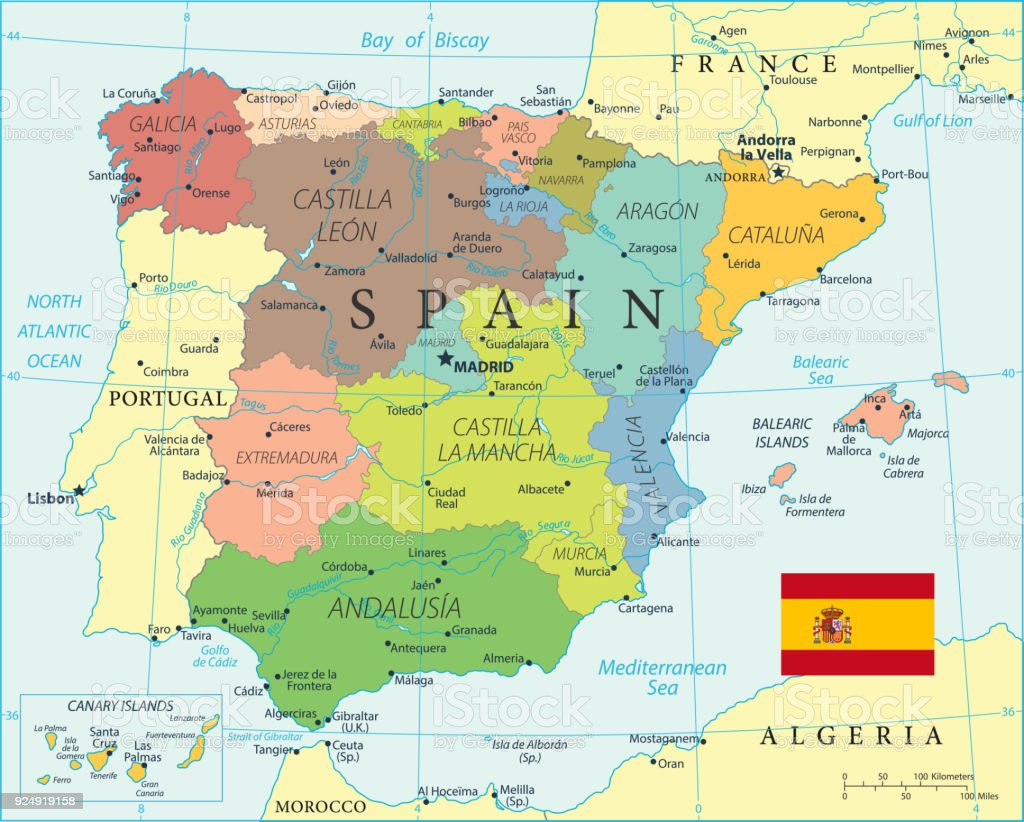 Map Of Spain Vector Stock Vector Art More Images Of Atlantic