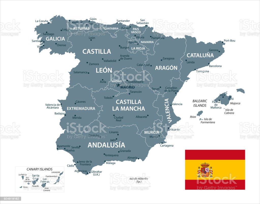 Map Of Spain And Surrounding Islands.Map Of Spain Vector Stock Illustration Download Image Now Istock