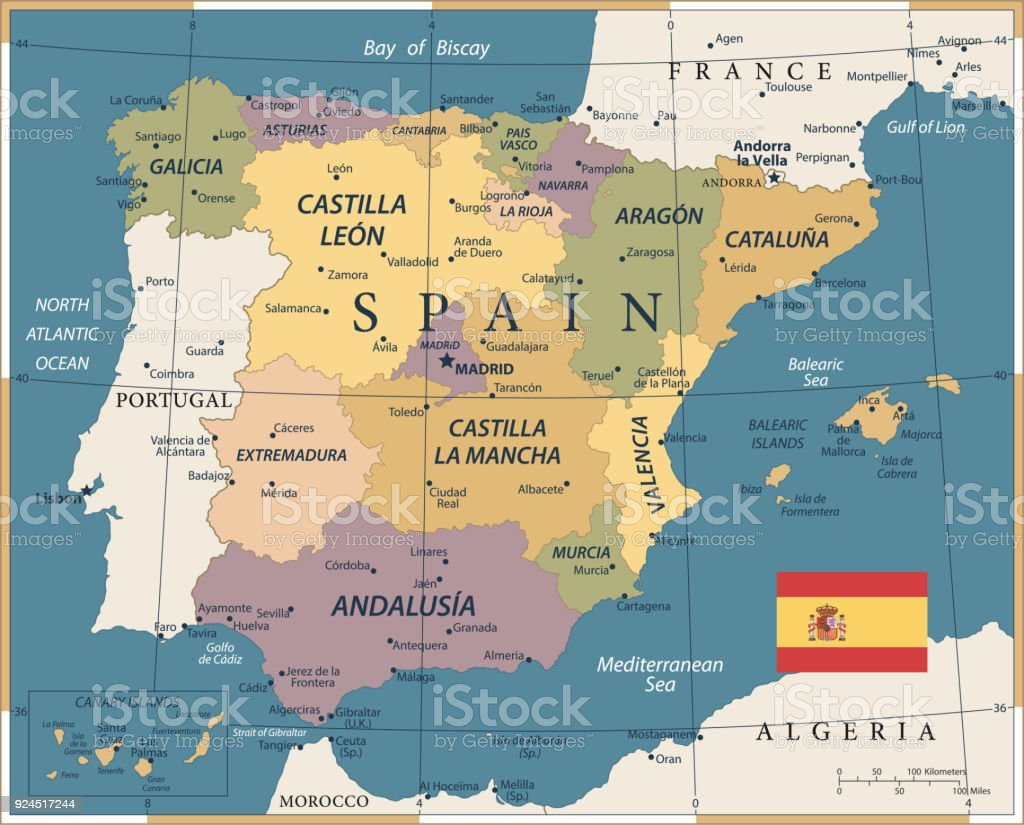 Map Of Spain Vintage Vector Stock Vector Art More Images Of