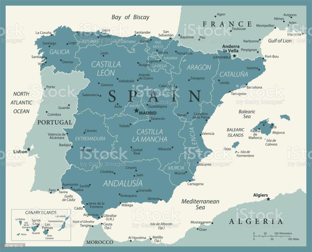 Karta Spanien Granada.Karta Over Spanien Vintage Vektor Vektorgrafik Och Fler Bilder Pa