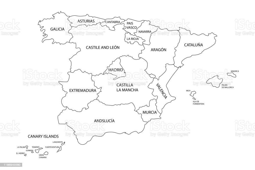 Picture of: Map Of Spain With Borders Of Regions States Or Autonomous Communities Detailed Black Outline Map Silhouette For Banner Poster Website Travel Concept Eps10 Illustration Stock Illustration Download Image Now Istock