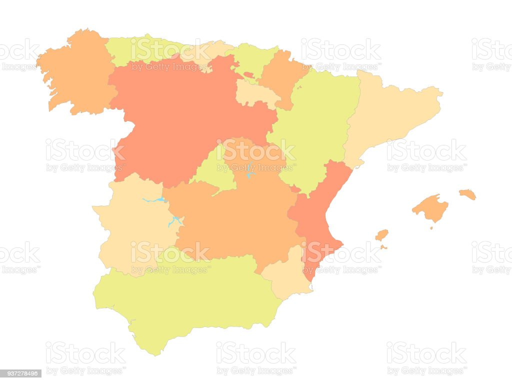Spain Map Of Provinces.Map Of Spain With Provinces Stock Vector Art More Images Of