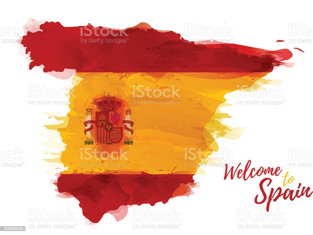 Map of Spain with the decoration of the national flag. vector art illustration