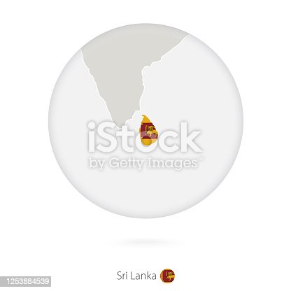 istock Map of Sri Lanka and national flag in a circle. 1253884539