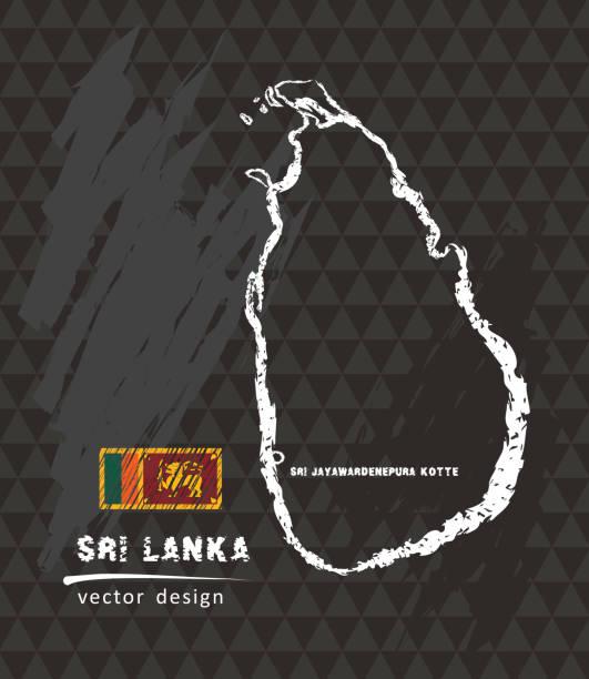 map of sri lanka, chalk sketch vector illustration - back to school stock illustrations