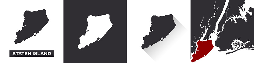 Map of Staten Island. Boroughs of New York City. United States of America. State maps. Trendy design. Vector illustration