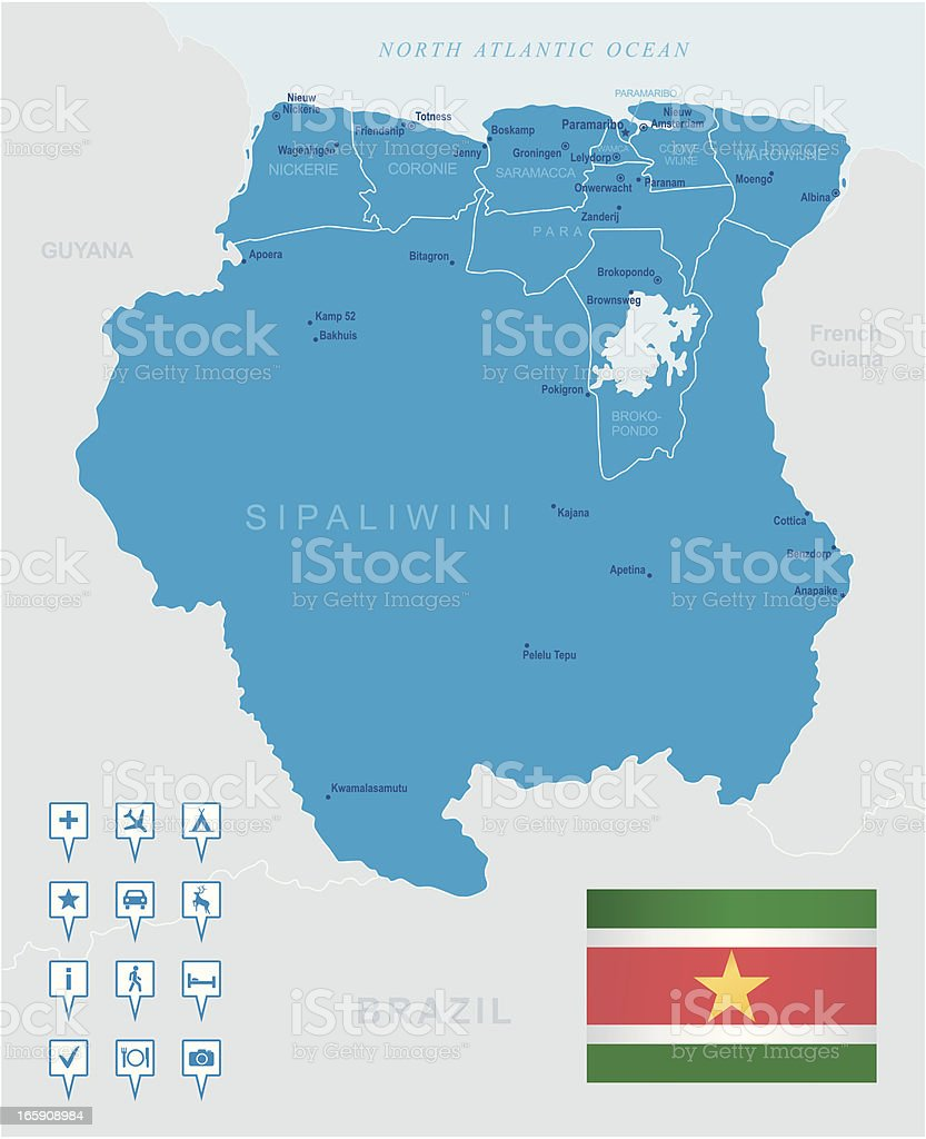 Map Of Suriname States Cities Flag And Navigation Icons Stock - Map Of Us State Capitals