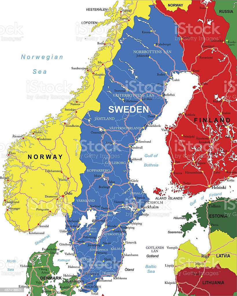 Map of Sweden including Norway and Finland vector art illustration