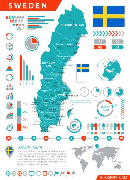 bildbanksillustrationer, clip art samt tecknat material och ikoner med karta sverige - infographic vektor - stockholm
