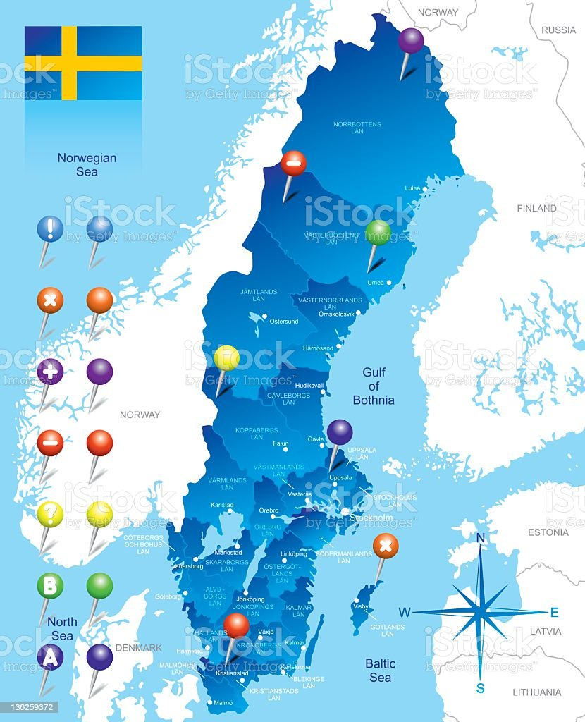Map of Sweden royalty-free stock vector art