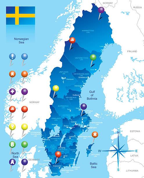 bildbanksillustrationer, clip art samt tecknat material och ikoner med map of sweden - malmö
