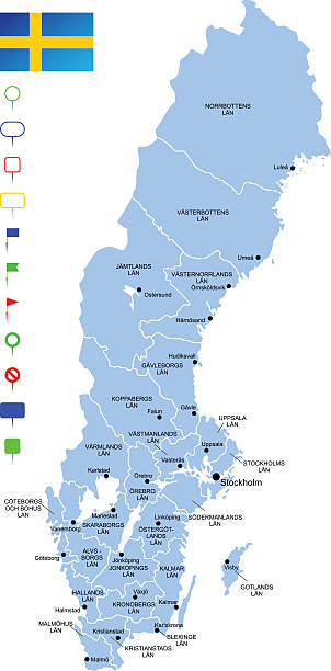 bildbanksillustrationer, clip art samt tecknat material och ikoner med map of sweden - sweden map