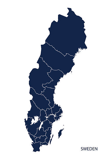 bildbanksillustrationer, clip art samt tecknat material och ikoner med map of sweden. - sweden map