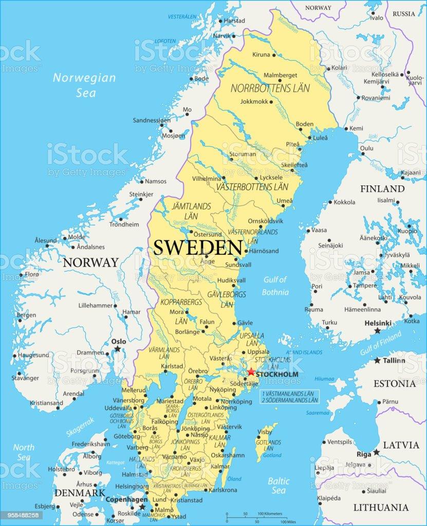 Karte Schweden Regionen.Karte Von Schweden Vektor Stock Vektor Art Und Mehr Bilder