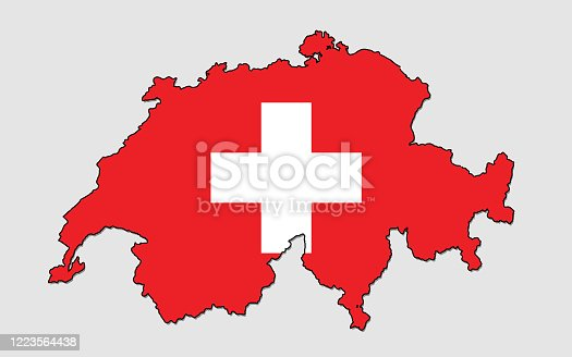 istock Map of Switzerland, Filled with the National Flag 1223564438