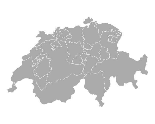map of switzerland - швейцария stock illustrations