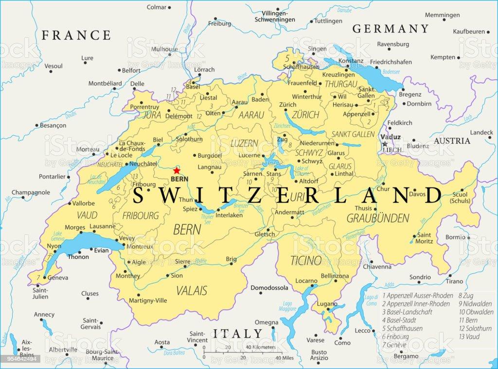 Switzerland In World Map.Map Of Switzerland Vector Stock Vector Art More Images Of Austria