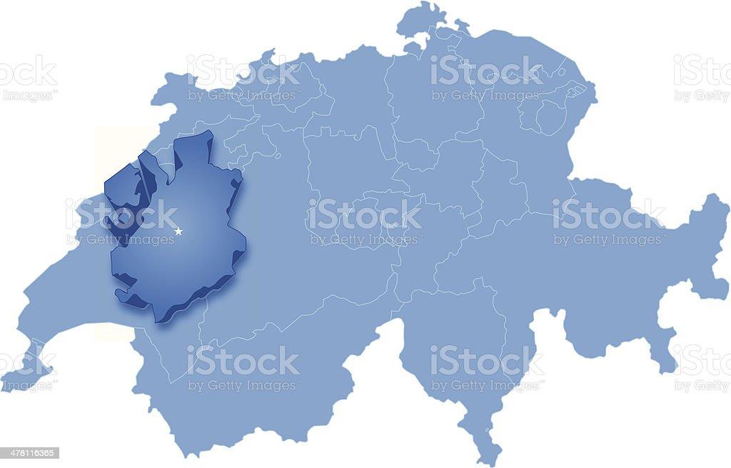 Freiburg Schweiz Karte.Karte Von Freiburg In Der Schweiz Herausgezogen Ist Stock
