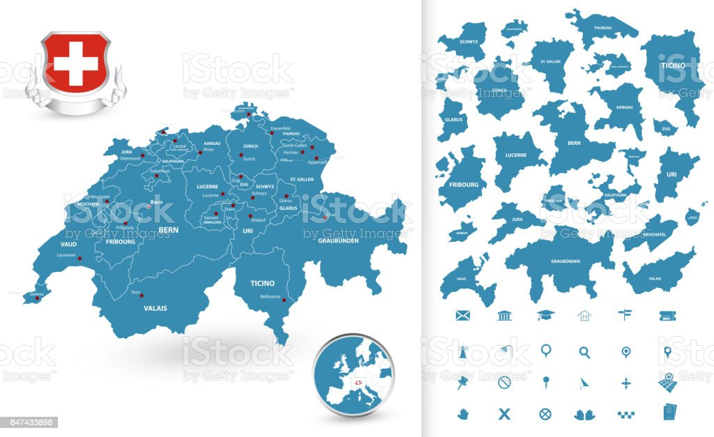 Map of Switzerland with regions vector art illustration