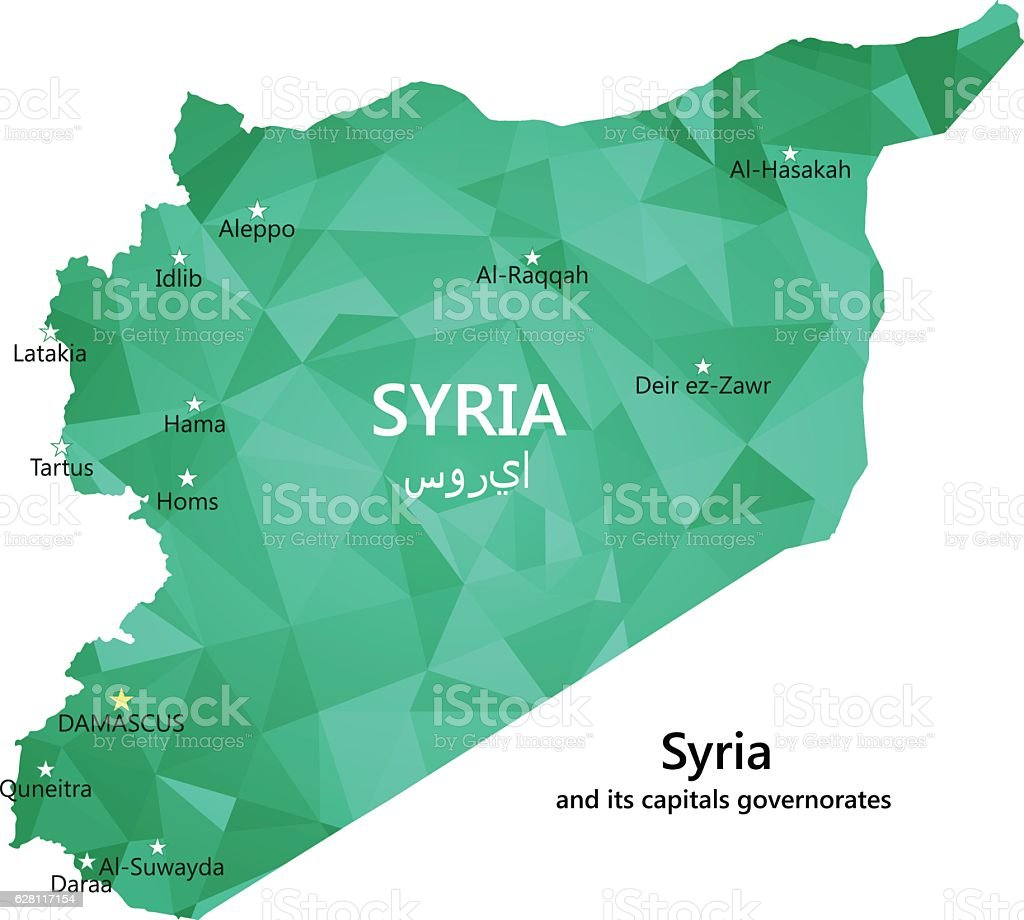 Map of Syria vector art illustration