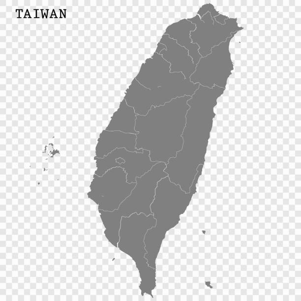 Map of Taiwan High quality map with borders of the regions taiwan stock illustrations