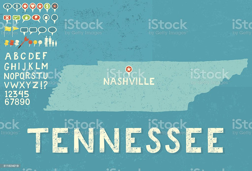Map of Tennessee with icons vector art illustration