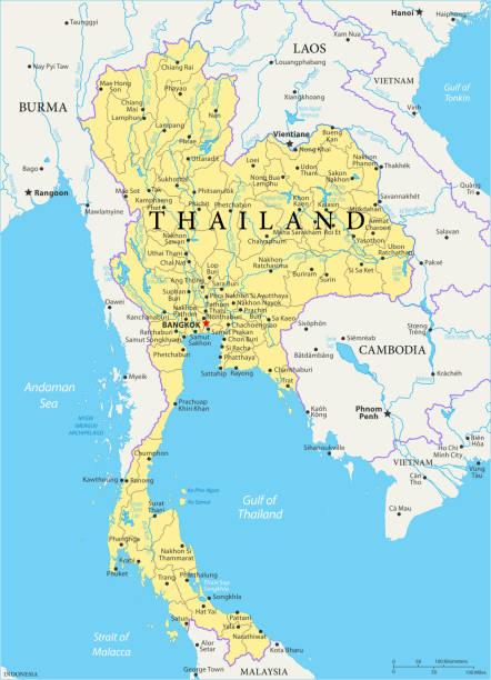 landkarte thailand - vektor - pattaya stock-grafiken, -clipart, -cartoons und -symbole