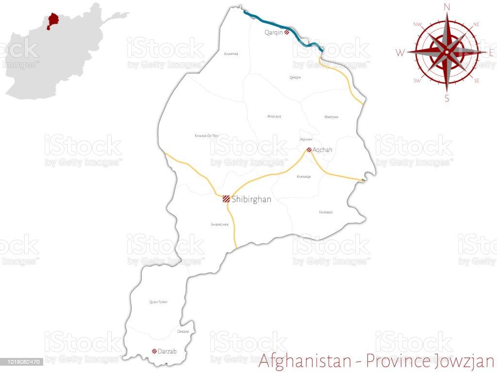 Karte Afghanistan Provinzen.Karte Von Der Afghanischen Provinz Khowaja Stock Vektor Art