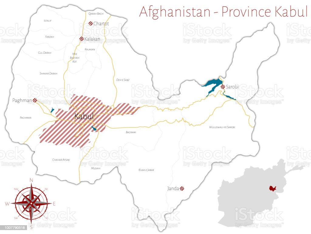 Map Of The Afghan Province Of Kabul Stock Illustration ...