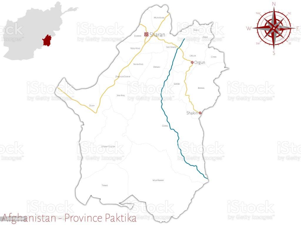 Karte Afghanistan Provinzen.Karte Von Der Afghanischen Provinz Paktika Stock Vektor Art