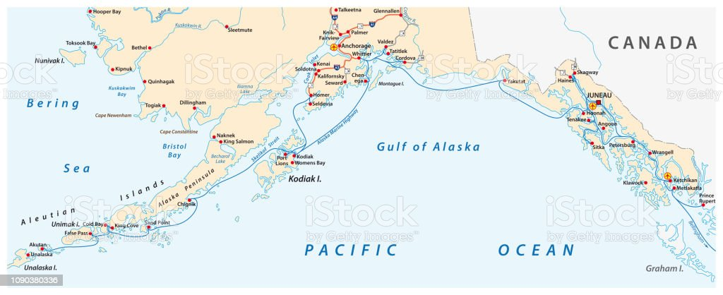 Map Of The Alaska Marine Highway System Ferry United States ...