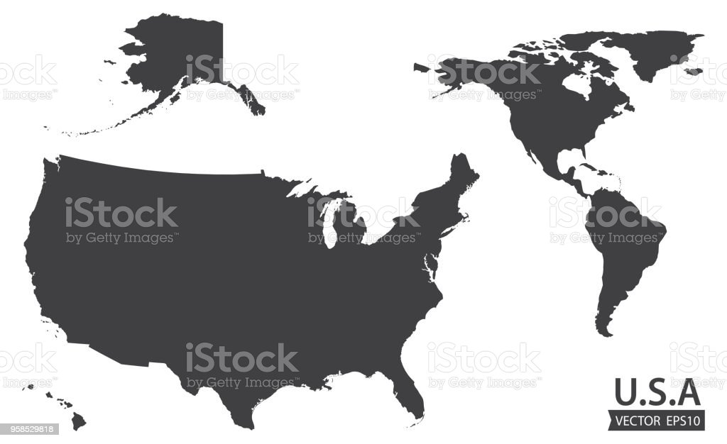 Map Of The American Continent And The Usa Including Alaska And ...