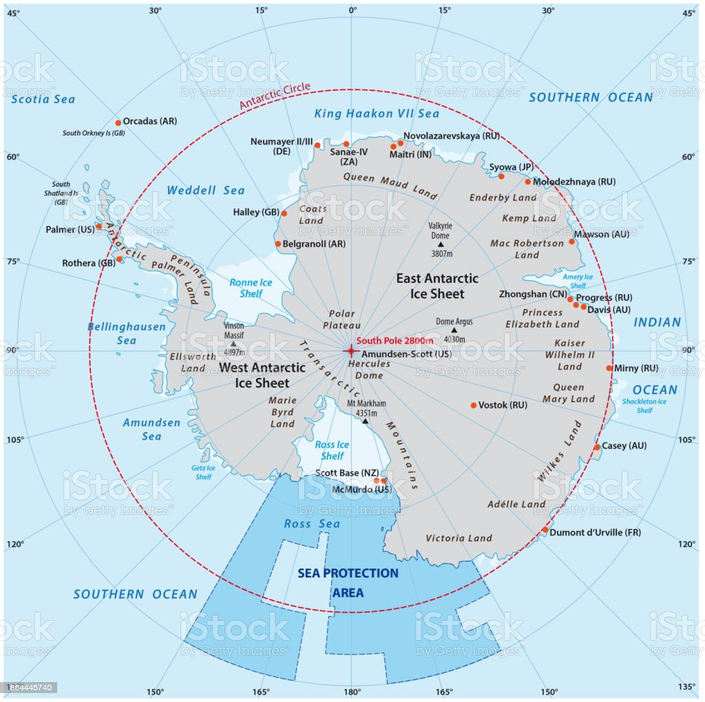Map of the Antarctic with the new sea protection area in the Ross Sea vector art illustration