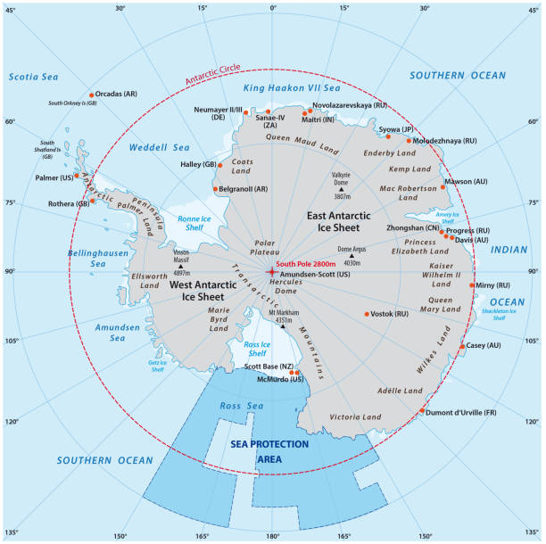 map of the antarctic with the new sea protection area in the ross sea - antarctica maps stock illustrations, clip art, cartoons, & icons