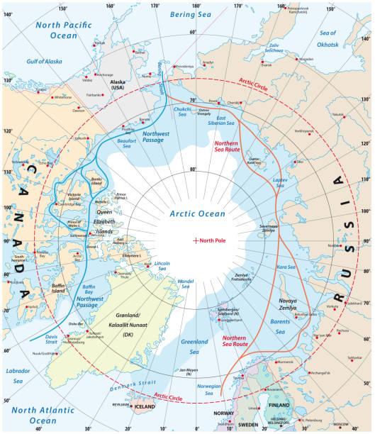 Map of the Arctic region, the northwest passage and the northern sea route Map of the Arctic region, the northwest passage and the northern sea route arctic stock illustrations