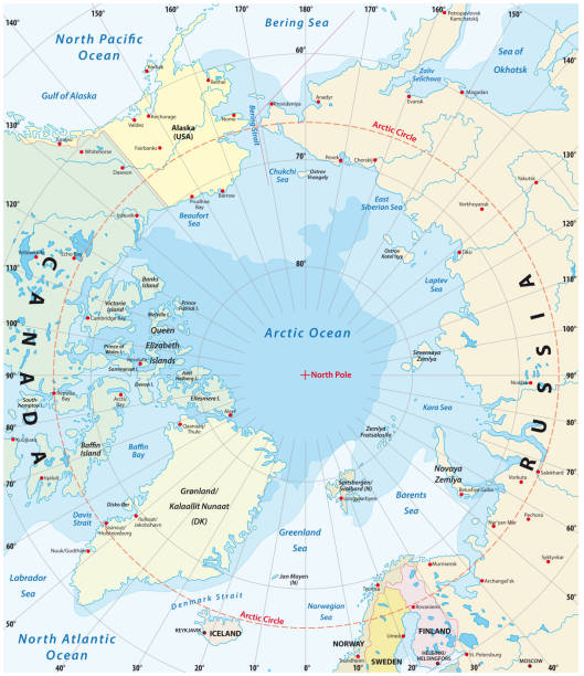 Map of the Arctic with the least and largest extent of the ice cap 2018 Map of the Arctic with the least and largest extent of the ice cap 2018 arctic stock illustrations