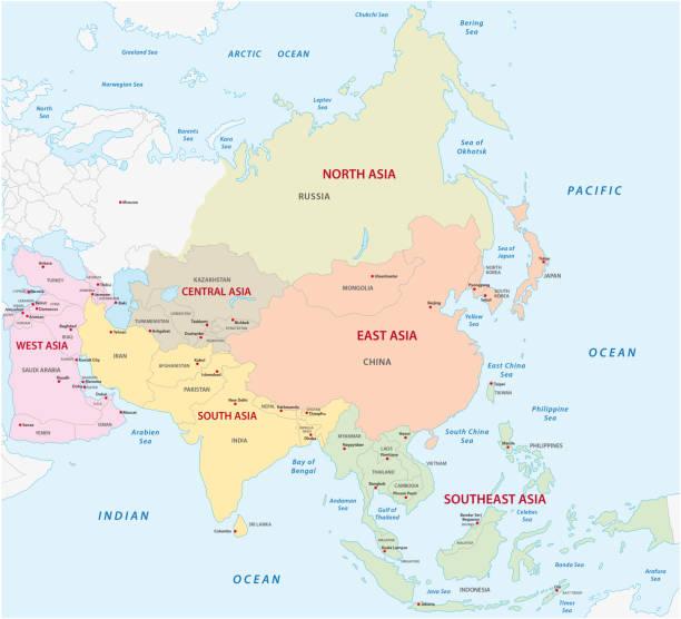 map of the asian sub-regions - oman stock illustrations