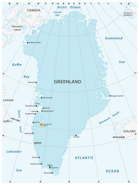 Map of the autonomous state of Greenland Vector map of the autonomous state of Greenland. greenland stock illustrations