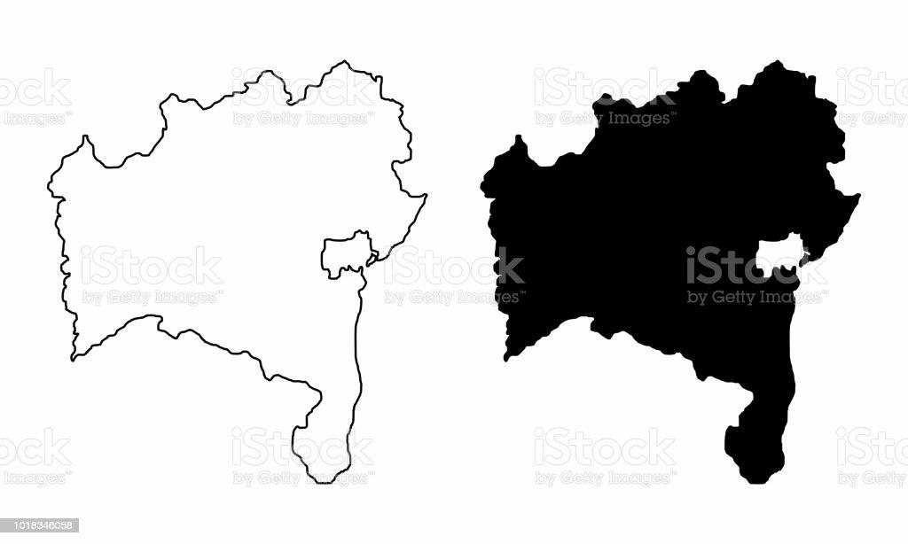 Mapa do estado da Bahia - ilustração de arte em vetor