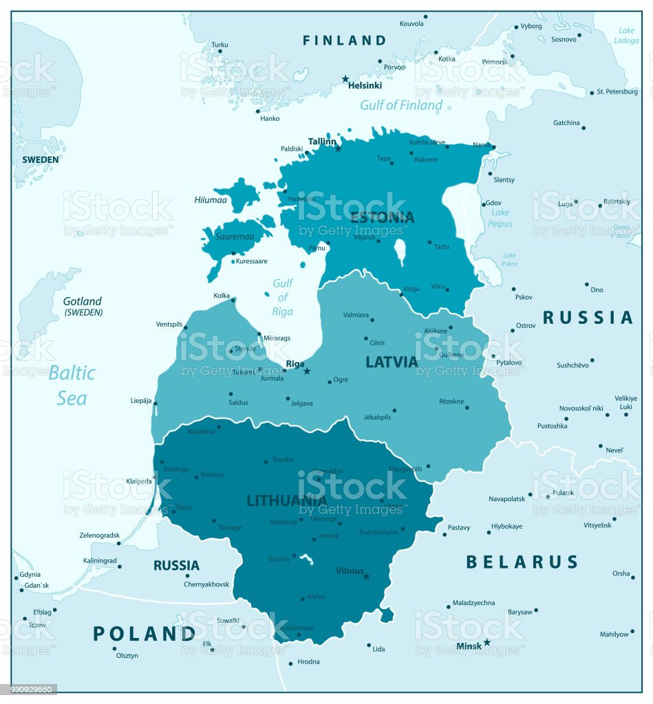 Map Of The Baltic States In Aqua Blue Colors Stock Vector Art More