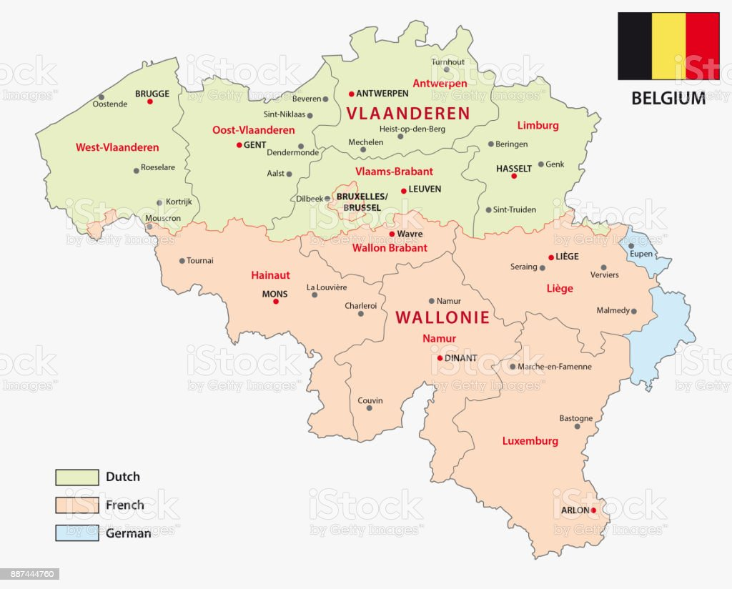 map of the belgian regions and language areas royalty free map of the belgian regions
