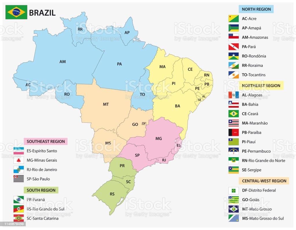 mapa dos Estados brasileiros com bandeiras - Vetor de Bandeira royalty-free