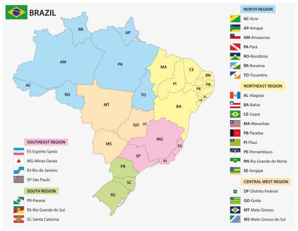 illustrations, cliparts, dessins animés et icônes de carte des états brésiliens avec drapeaux - cartes et drapeaux